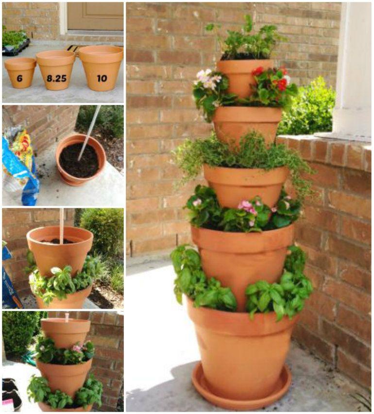 DIY Vertical Planter W/ Terra Cotta Pots