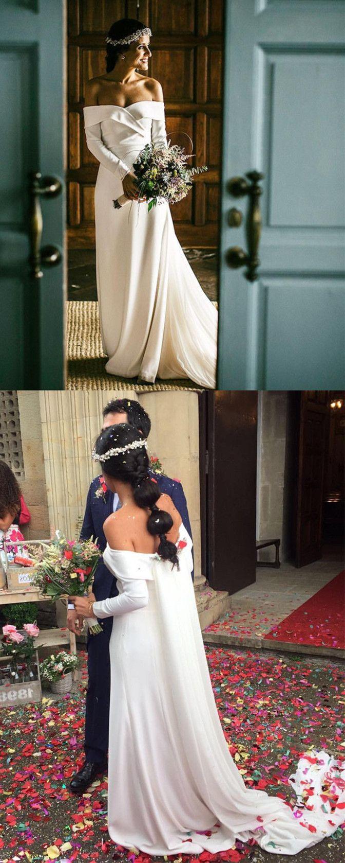 Stylish vneck long sleeves wedding dresses satin bridal gowns off