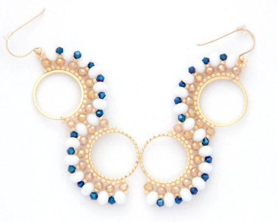 Beaded Hoop / Swarovski Hoop Earrings / Beaded hoop by Ranitit