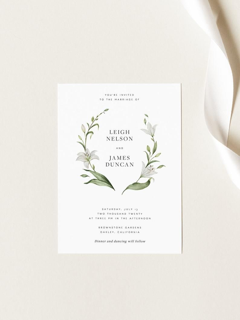 Botanical Wedding Invitation Template White Lily Floral