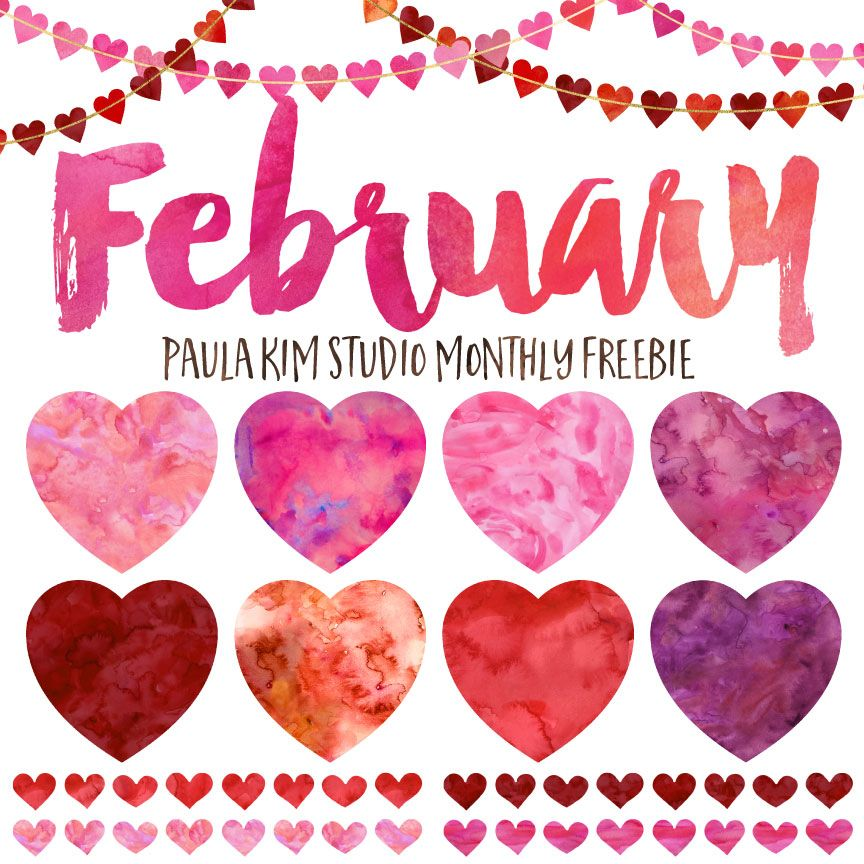 Free Clip Art February Watercolor Heart Clipart Set Available