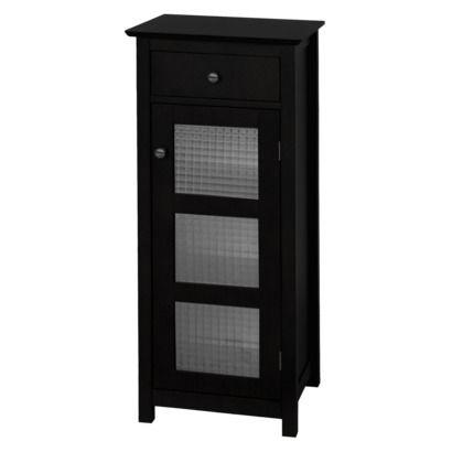Chesterfield 1 Door Floor Cabinet With Drawer Dark Espresso Elegant Home Fashions Cabinet Doors Bathroom Floor Cabinets Black Bathroom Storage
