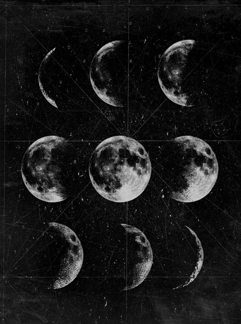 Lunar Phases Moon Art Goth Wallpaper Black