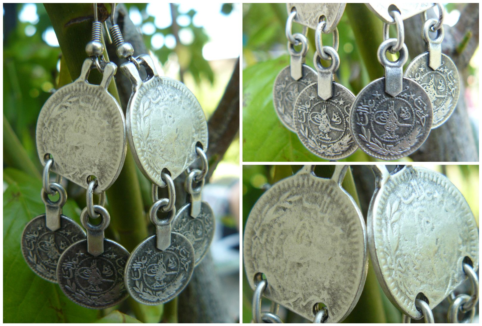 Silver coated earrings with reproduction of ancient ottoman coins, Turkey