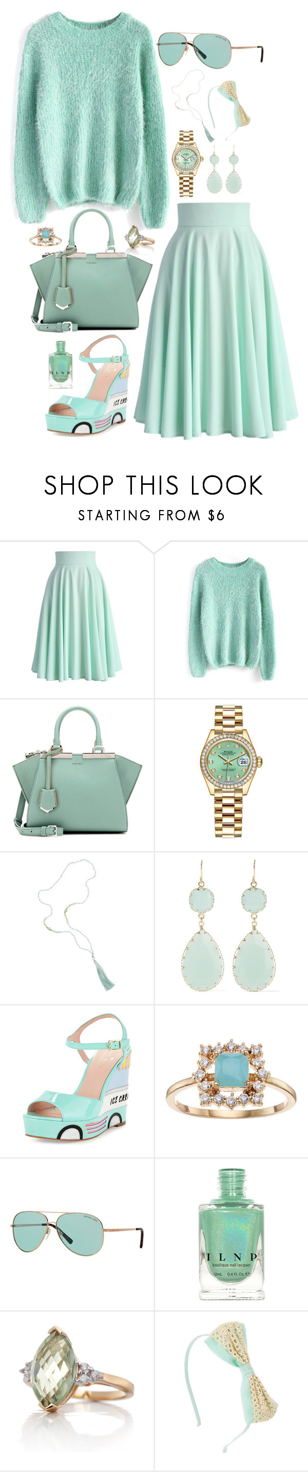 """Minty Fresh"" by downeastgirl88 ❤ liked on Polyvore featuring Chicwish, Fendi, Rolex, Kenneth Jay Lane, Kate Spade, LC Lauren Conrad, Michael Kors, Belk & Co. and claire's"