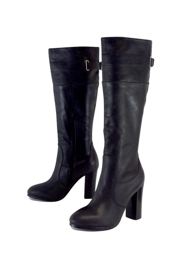 b4d2b4c9ecf6 Kelsi Dagger- Black Leather Chunky Heel Boots Sz 8