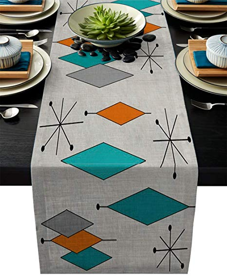 Amazon Com Vandarllin Cotton Linen Table Runner Dresser Scarves Retro Modern Mi In 2020 Kitchen Table Decor Mid Century Modern Decor Table Setting Decor