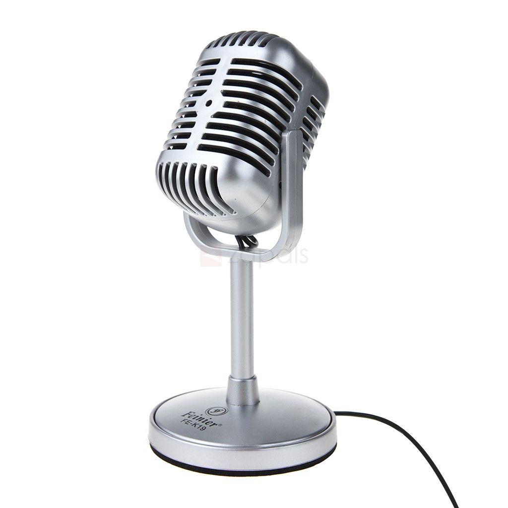 Adjustable Angle Desktop Microphone w/3.5mm Jack for PC
