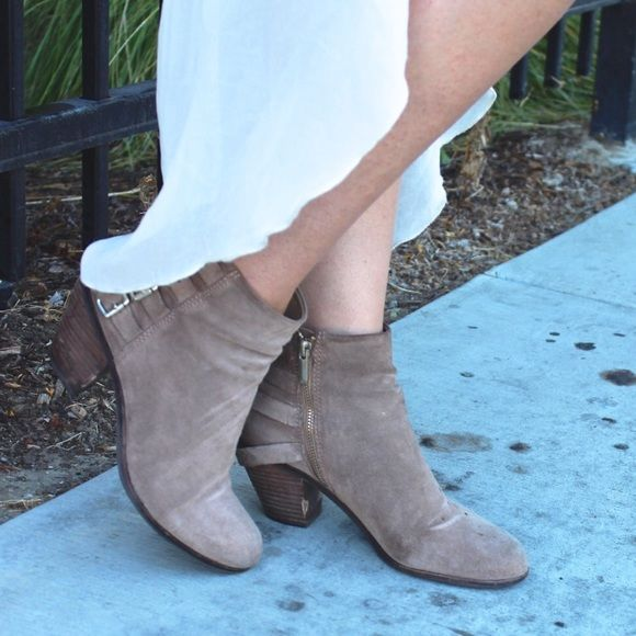 27638b56cead73 Sam Edelman  Lucca  Buckle Accented Booties Taupe suede booties with back  buckle accents by Sam Edelman. Distressing on upper and heel.