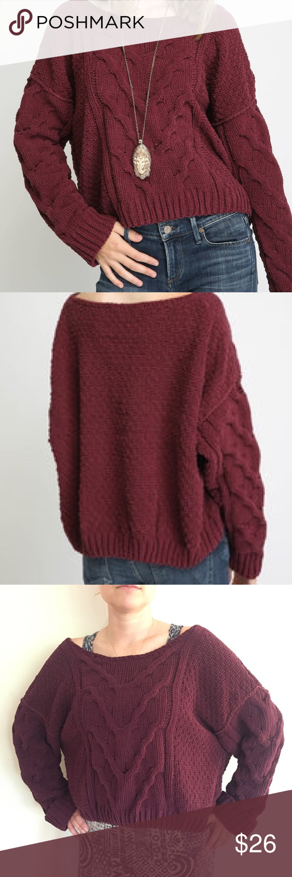 Free People Sticks and Stones Pullover A semi cropped cable-knit ...