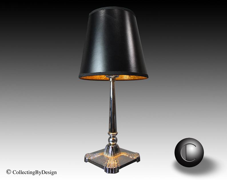 Vintage Petite Art Deco Cast Iron Base Lamp C 1930 Restored Art Deco Art Deco Lighting Deco