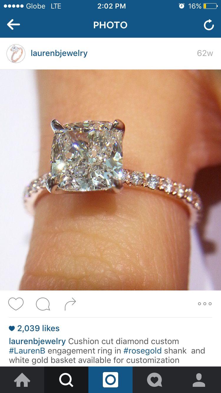Ring peg. Cushion cut diamond, delicate thin band.