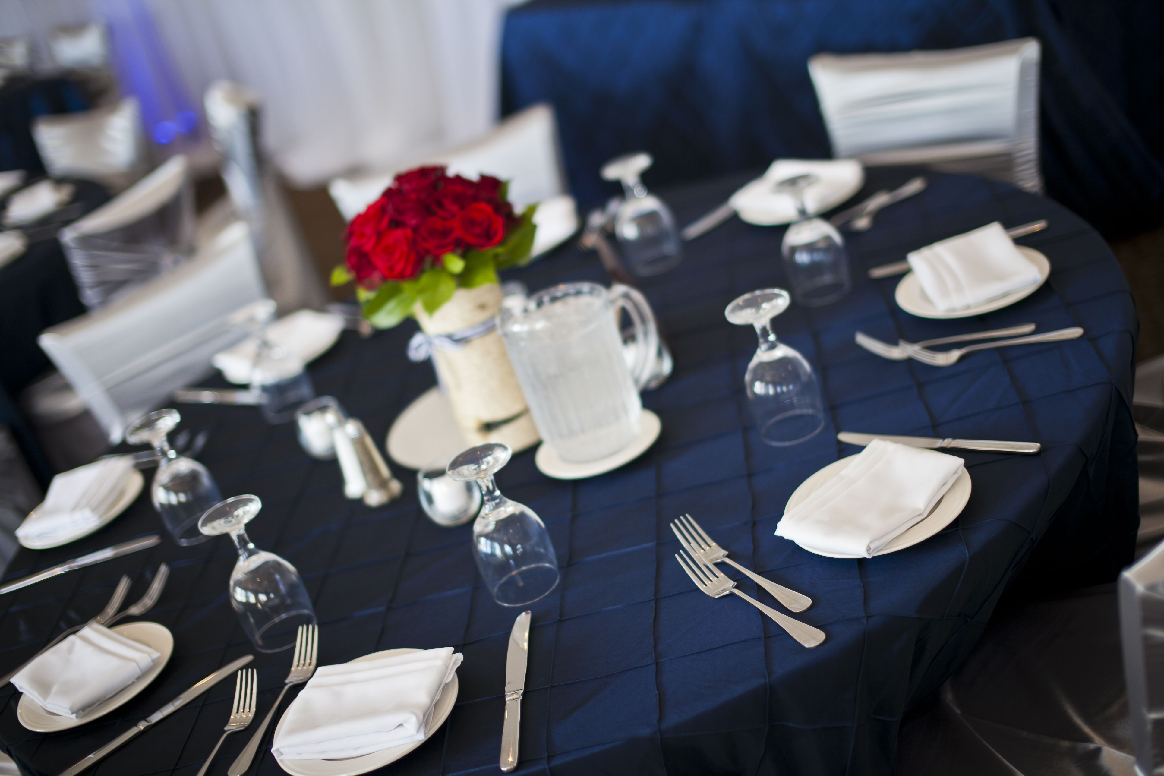 Pin By Lyndsie Exum On My Wedding Navy Tablecloth Blue Wedding