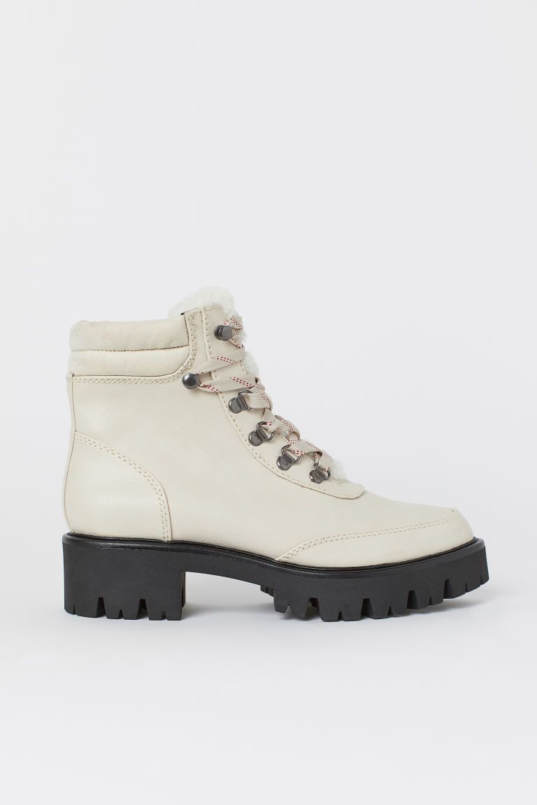 Faux Shearling Lined Boots Natural White Ladies H M Ca Bot Deri Bot Kaucuk
