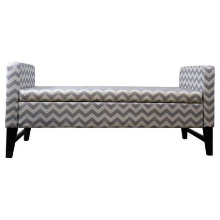 24 Inch Geometric Storage Bench, Multiple Colors, Gray