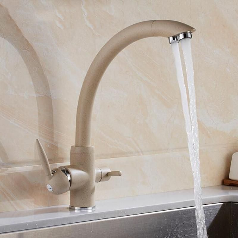 Water Purifier Kitchen Sink Faucet Hot Cold Mixer Tap Double Handles Double Water Outlet Deck Mount In 2020 Kitchen Faucet Kitchen Sink Faucets Sink