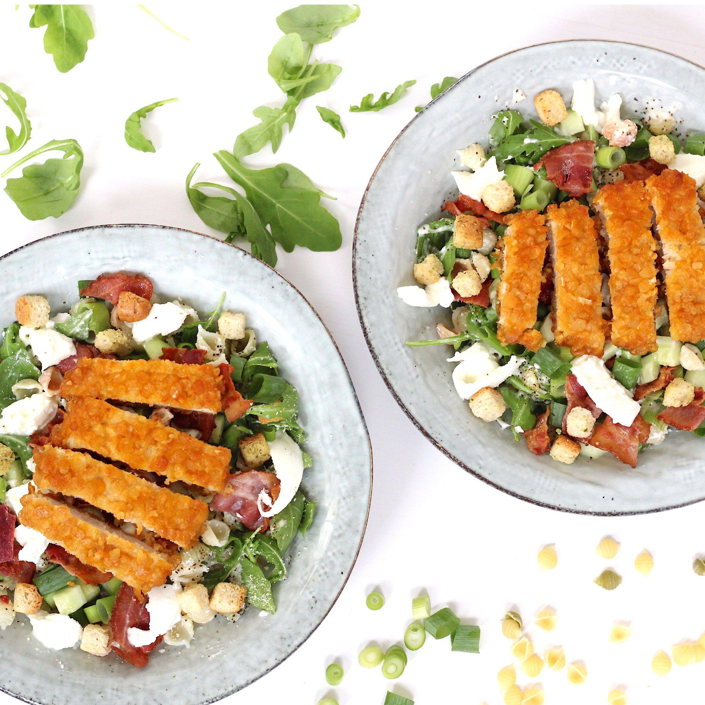 Wonderlijk Caesar salade met pasta en krokante kip | Krokante kip, Salade WP-29
