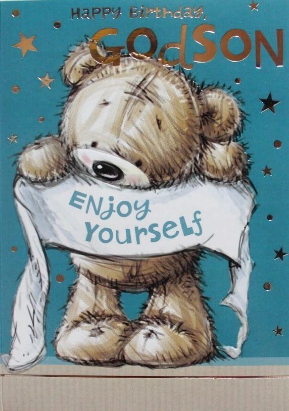 Happy Birthday Godson Enjoy Yourself Greeting Card Teddy Bear Theme Brand New Selective BirthdayGodson