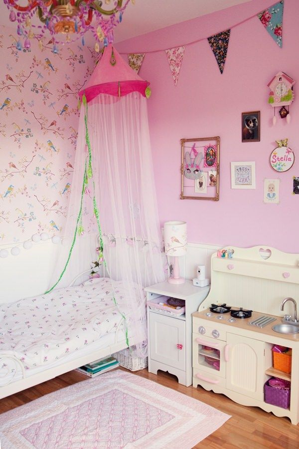 habitacin en rosa para una nia con muebles de ikea - Habitaciones Nias