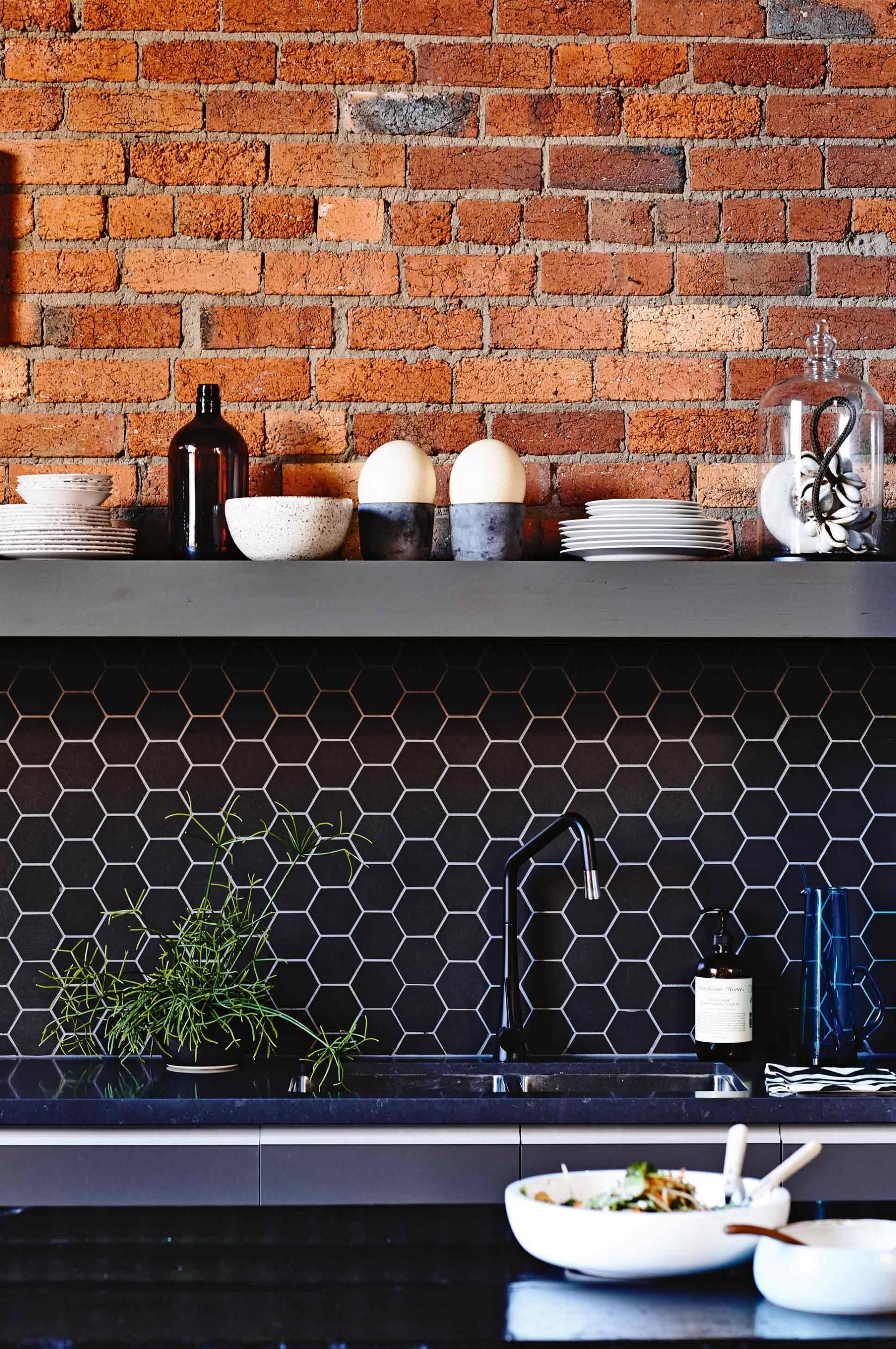 Kitchen Tiles And Splashbacks exposed-brick-black-hexagon-tile-splashback-kitchen-mar15