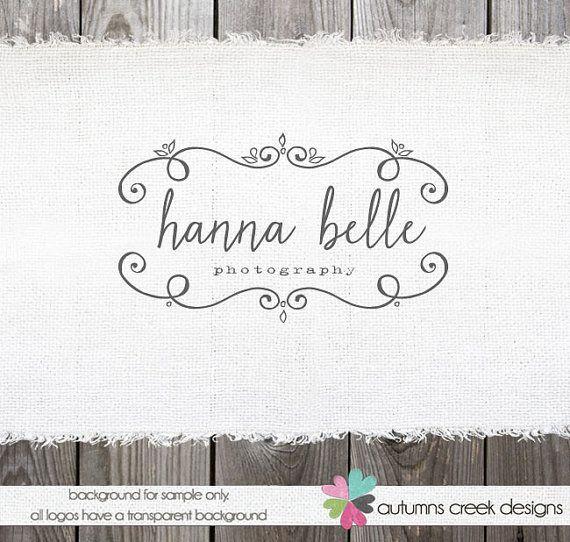 custom premade photography logo name swirl frame logo design name text logo