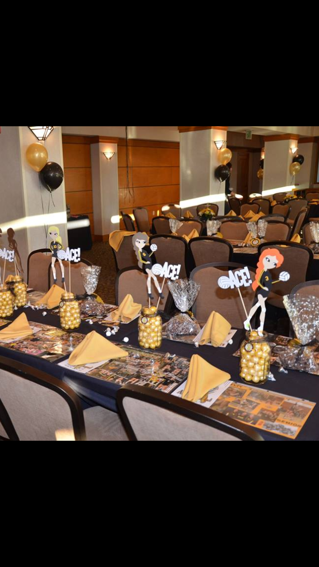 The Varsity Table Find This Pin And More On Volleyball Banquet Decoration