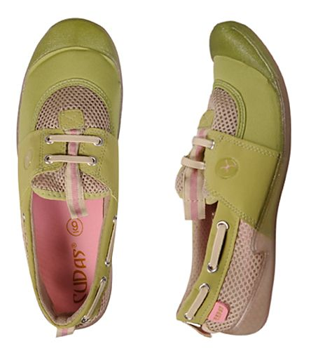 Cudas Women's Voyage Watershoes | On Swim Outlet for $14.95 | You'll quickly fall in love with the deck shoe styling of the Cudas Women's Voyage.  • Toe and heel bumper for extra protection • Clear outersole is anti-slip and non-marking • Breathable waterflow mesh • Pull tabs for easy on and off • Stretch neoprene upper • Water shoes provide protection for feet and traction when walking.  As with any footgear, please use caution when walking on a wet and slippery surface.