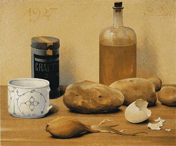 Franz Lenk - Stilleben mit Kartoffeln, Tasse, Zwiebeln