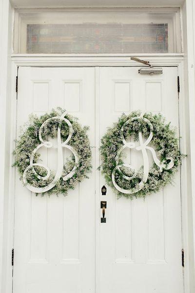 On the white door :)