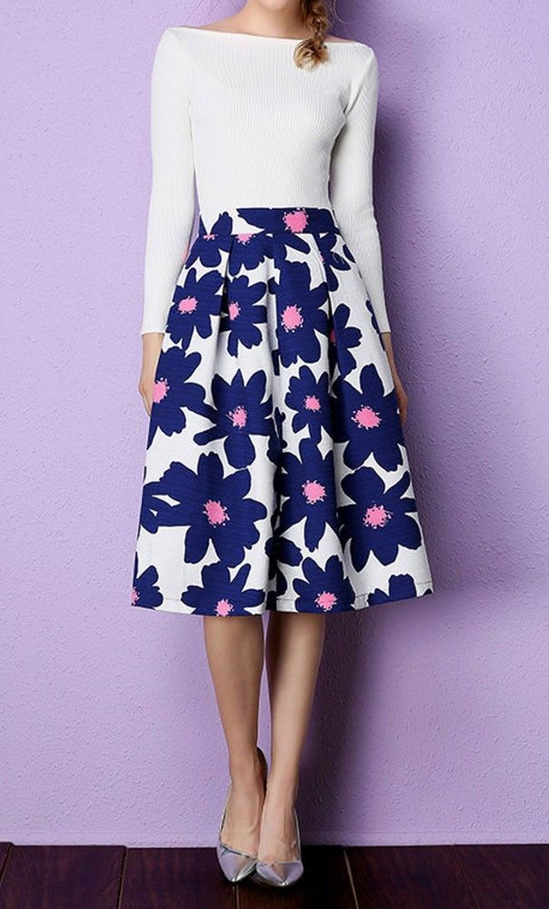 V-Queen 2016 Spring Summer Fashion Women Floral Print Skirts Knee-Length  Pleated Vintage Midi Skirts Female Plus Size