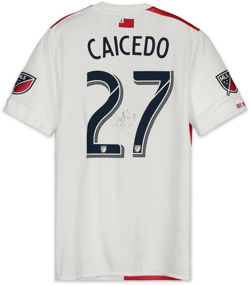 official photos 81665 6a7dc Luis Caicedo NE Revolution Signed MU White Jersey vs Atlanta ...