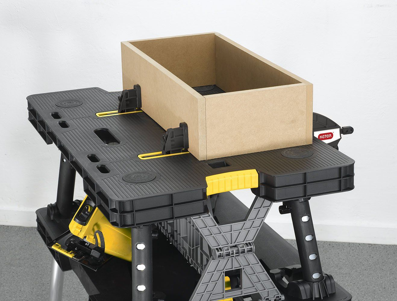 Keter Folding Compact Workbench Sawhorse Work Table With Clamps 1000 Lb Capacity You Can Find More Information Keter Folding Work Table Work Table Workbench