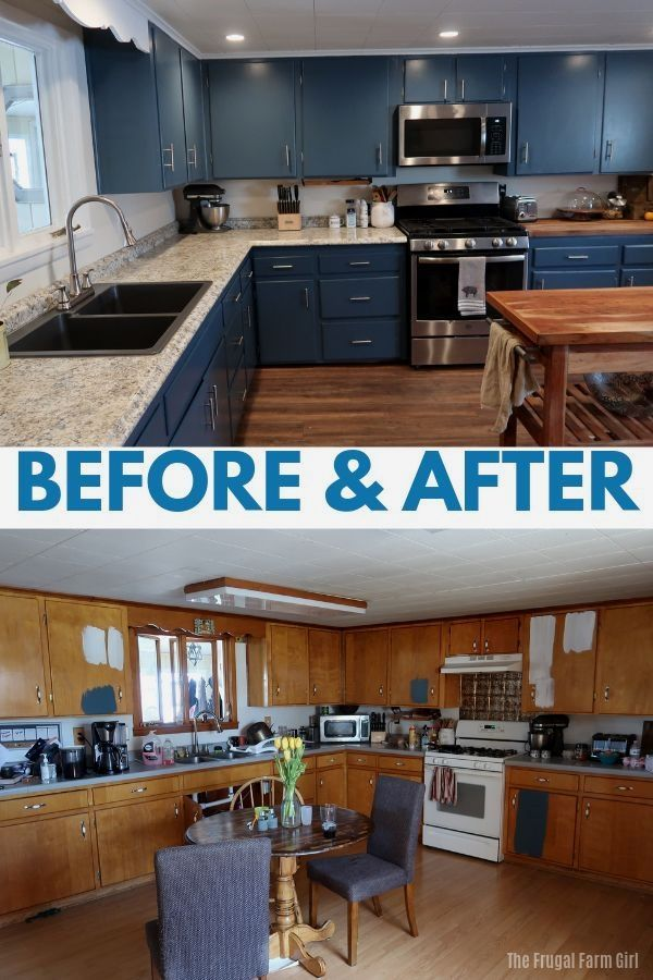 Our DIY Farmhouse Kitchen Makeover Before & After - Kitchen cabinet plans, New kitchen cabinets, Kitchen design, Kitchen renovation, Kitchen style, Kitchen remodel - You know how it starts  You ask your husband what he thinks about a blue color on the cabinets  He gives you a look, like he really doesn't care, but he's wondering how involved he
