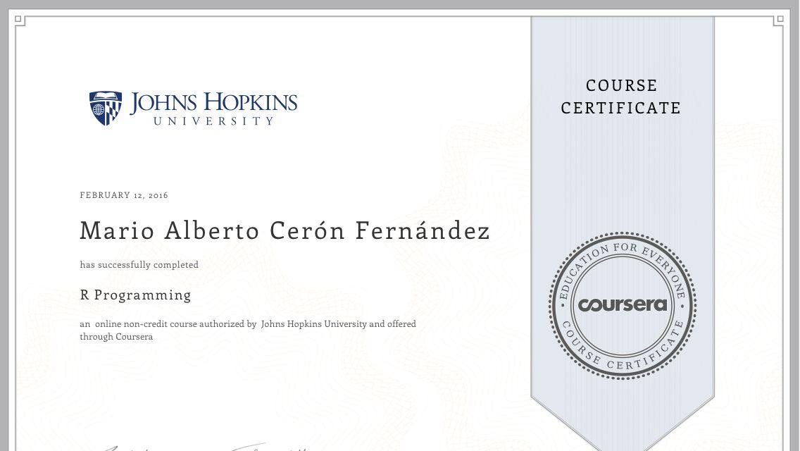 Certificado de mi tercer curso online en Coursera. R Programming ...
