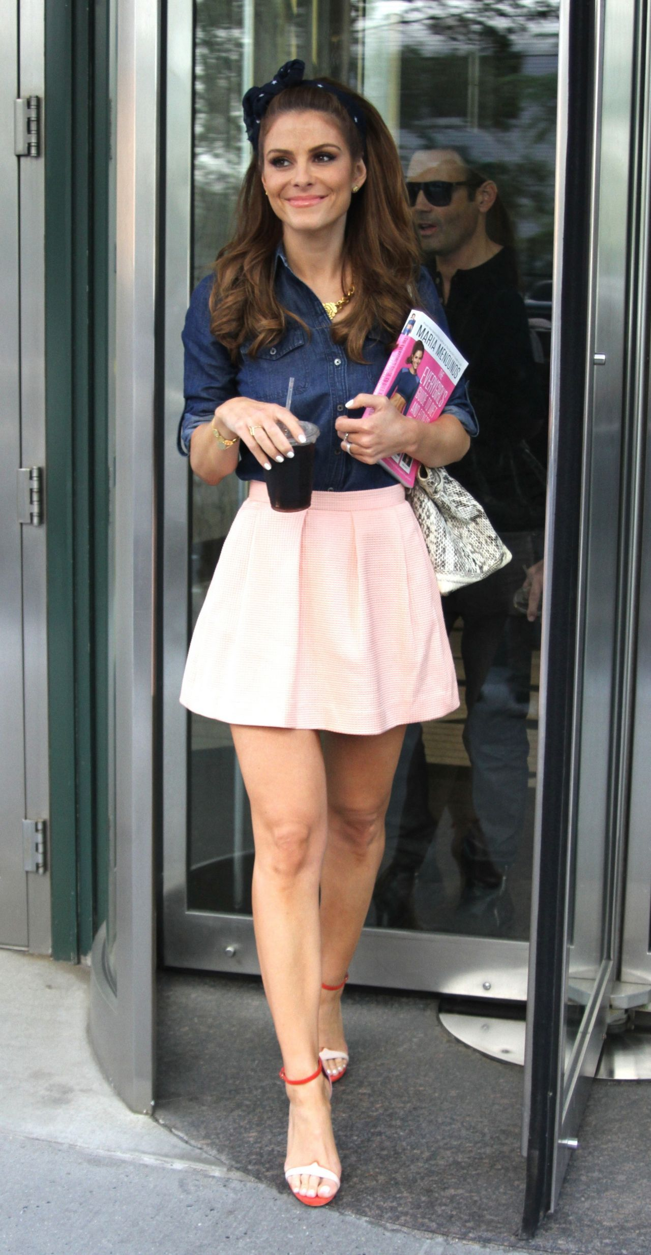 Maria Menounos in Mini Skirt Out in NYC June 2014