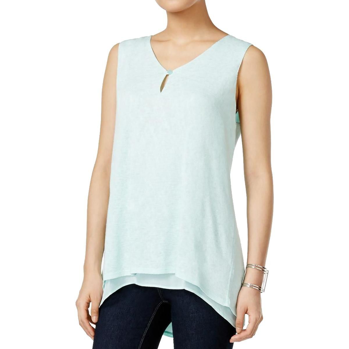 Style & Co. Womens Knit Overlay Keyhole Pullover Top