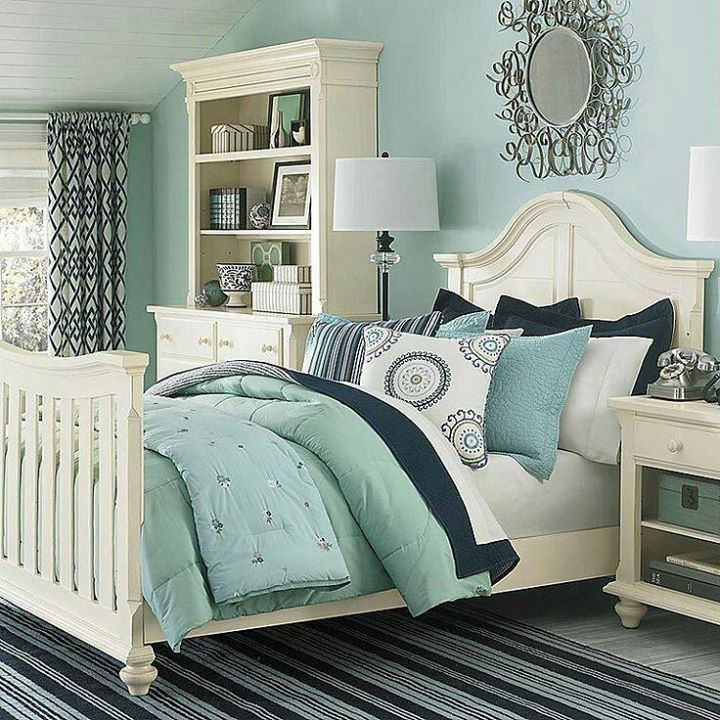 seafoam green walls, navy and gray bedding Home Sweet