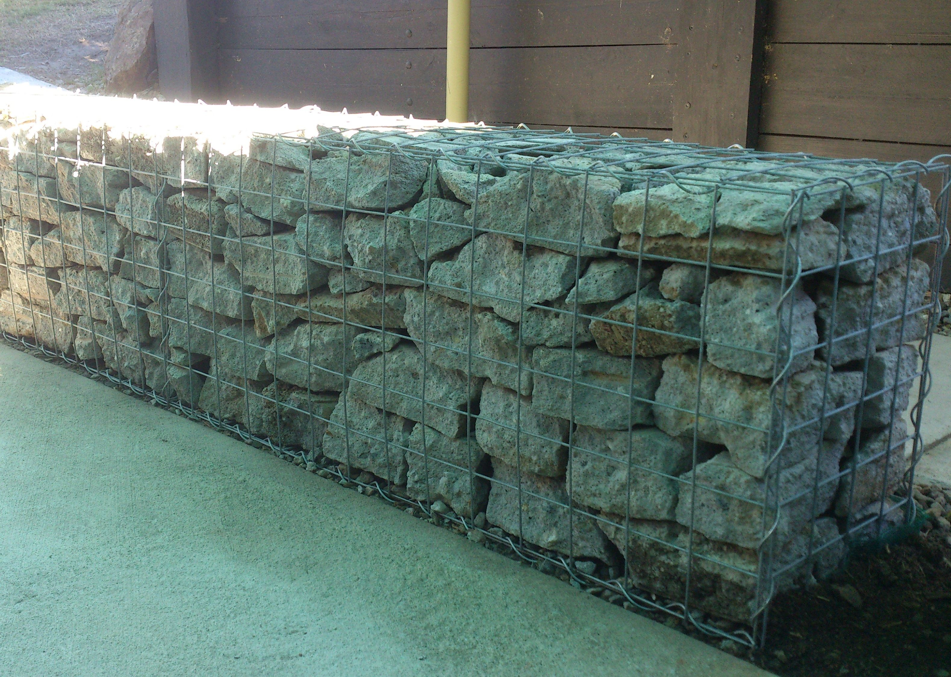 Using Recycled Concrete To Fill Your Gabions Can Be A Low Cost Option Http Www Gabion1 Com Modern Backyard Gabion Wall Backyard Landscaping