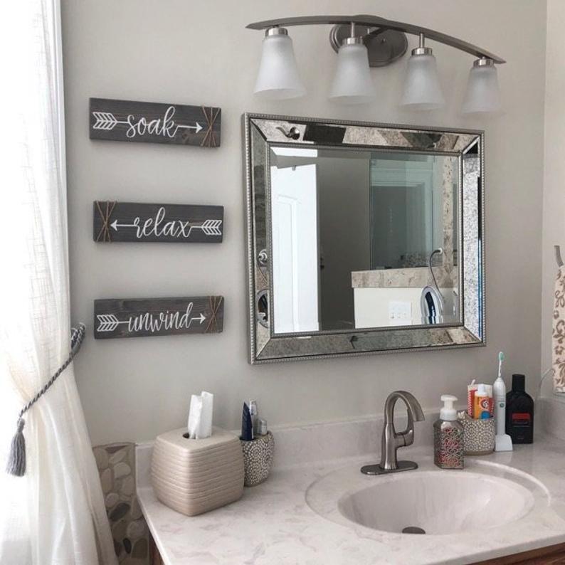 Bathroom Wall Decor Relax Soak Unwind, Rustic Bathroom Wall Art Ideas