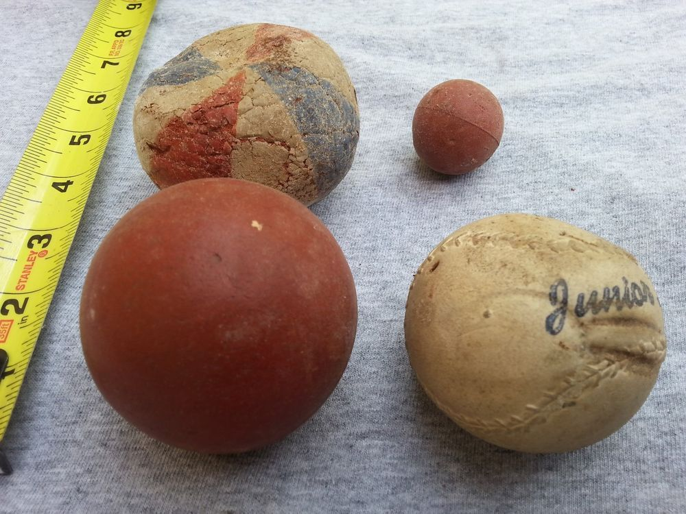 Antique Rubber Ball Toy Lot Of Four Vintage Bouncy Balls Hupfballe