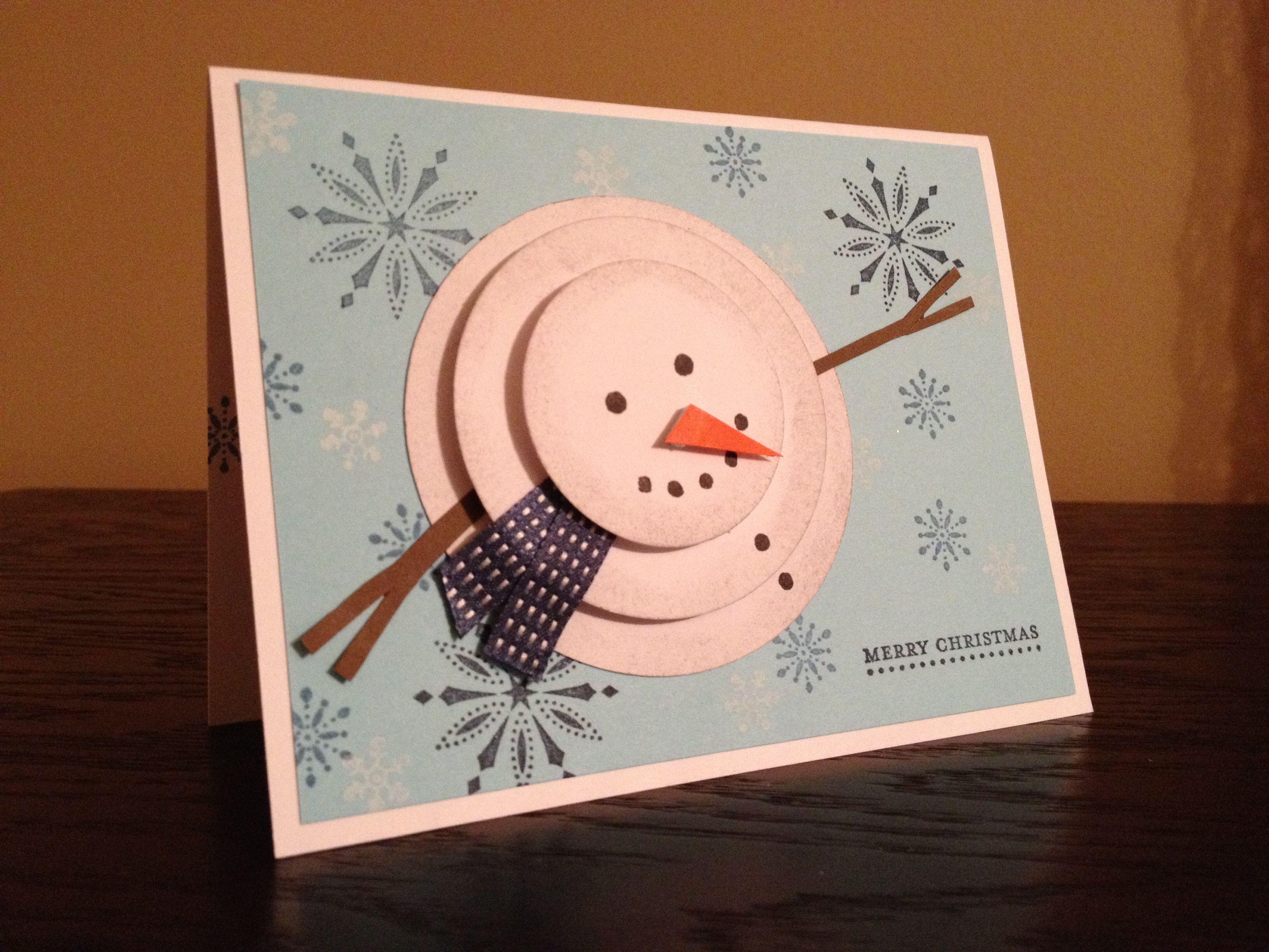 Merry christmas handmade card with 3d snowman for Handmade snowman christmas cards