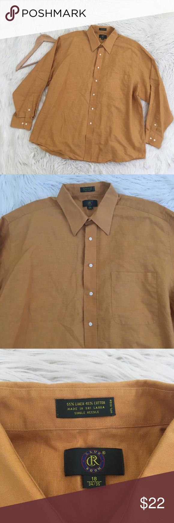 Yellow dress shirt men  Club Room Mens Linen Blend Yellow Dress Shirt  Pinterest  Yellow