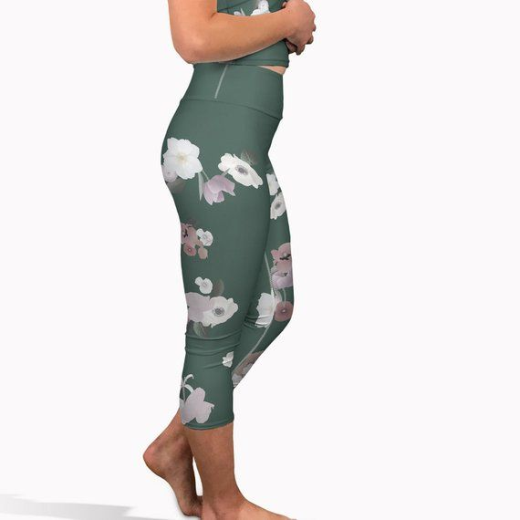 bd9401fddef4a3 Olive green floral yoga capris, High waisted summer leggings, fitness pants.  Womens workout