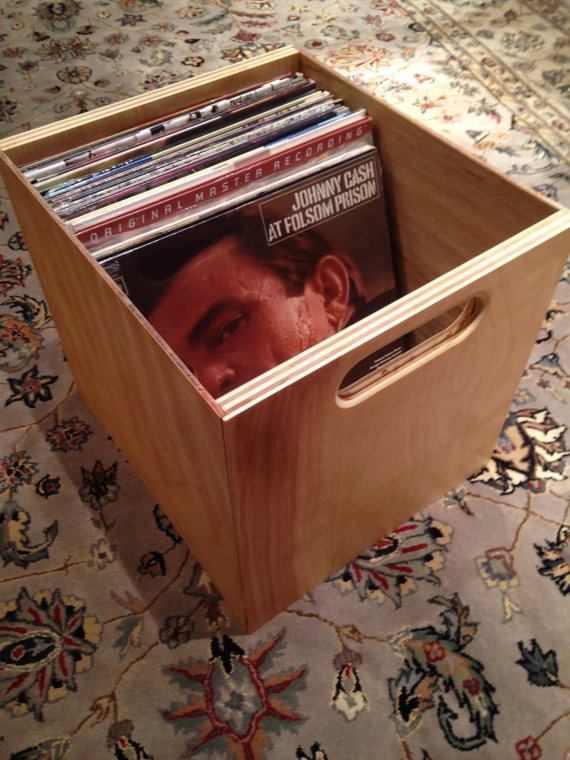 Vinyl Record Storage Cube From etsy - could put these on runners in a unit