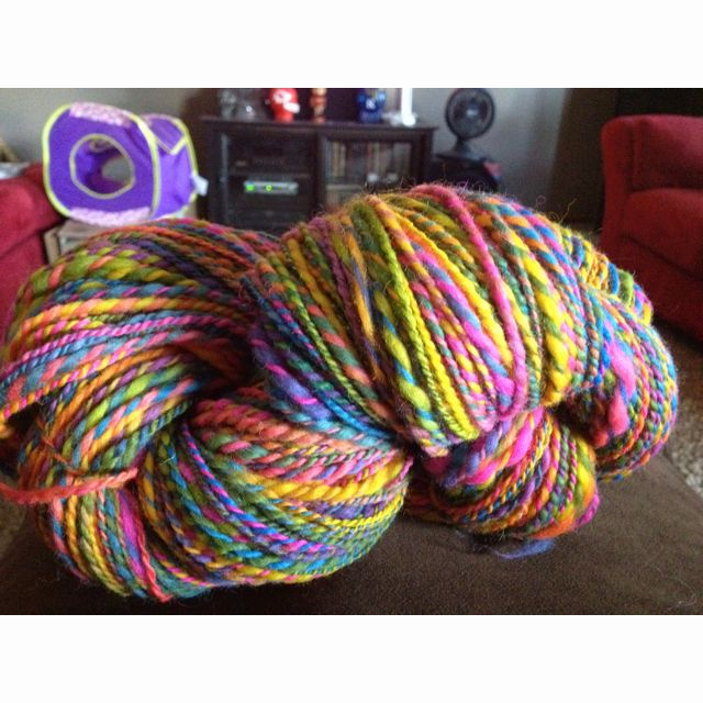 8oz from Gale's Art 376 yards.  Love the bright colors!!!!  Now what to knit with it???