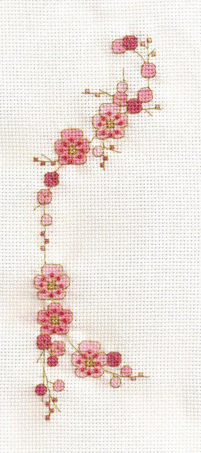 Cherry Blossom Cross Stitch | punto cruz | Pinterest | Bordado ...