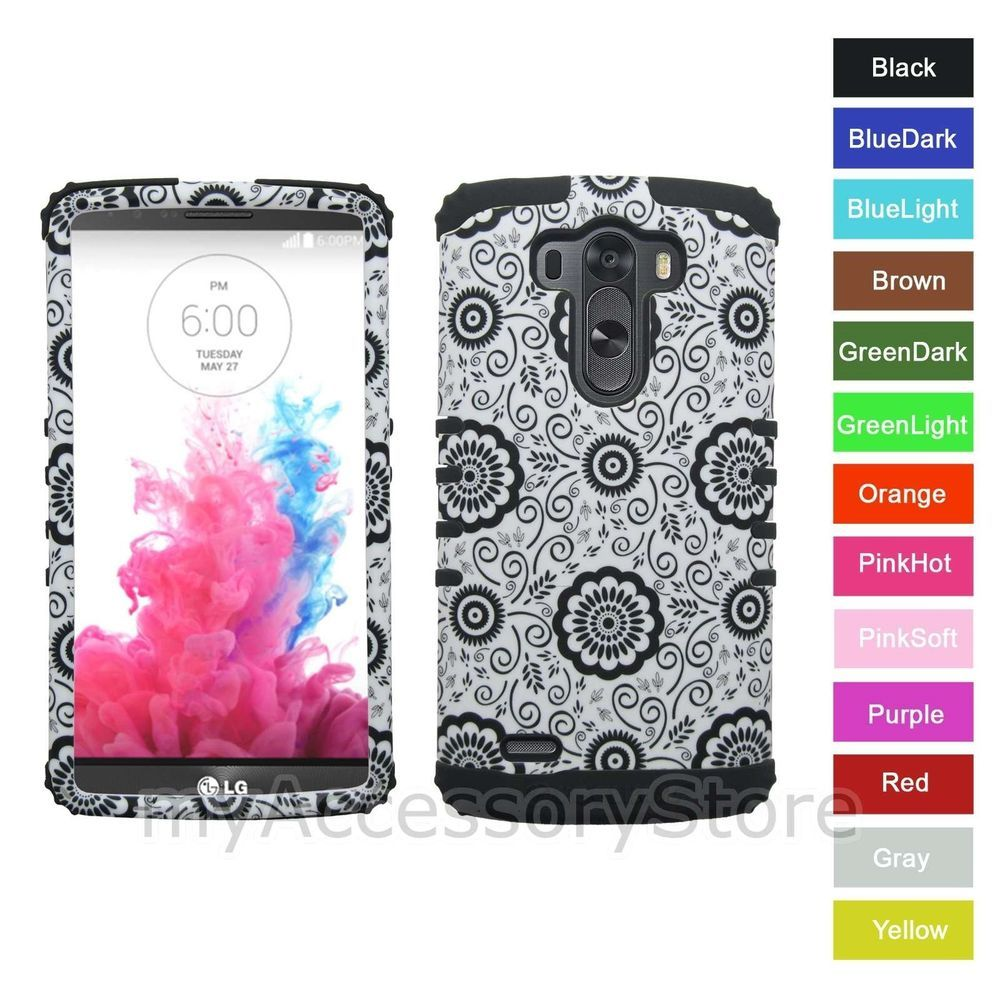 For LG G3 Flower Design Hard & Silicone Rubber Hybrid Rugged Impact Armor Case #CellArmor
