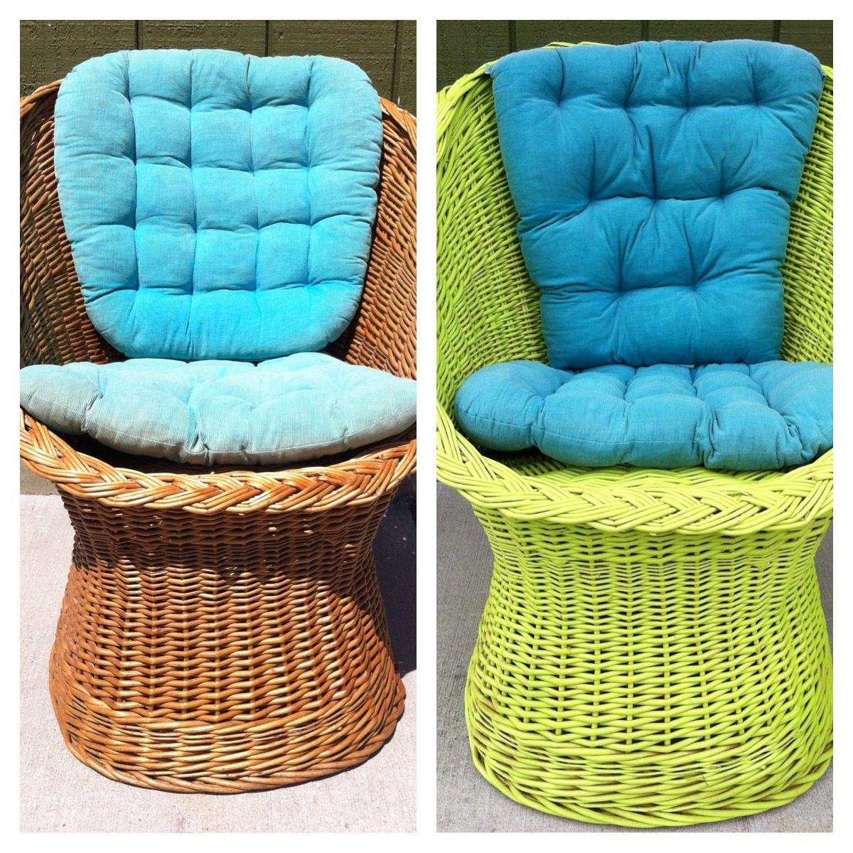 old wicker chair to new key lime green with teal pillows just spray