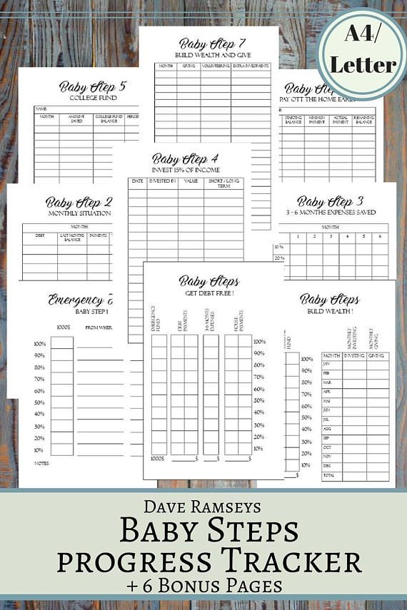 Baby Steps Progress Tracker Printable Planner Pages in A4 ans US