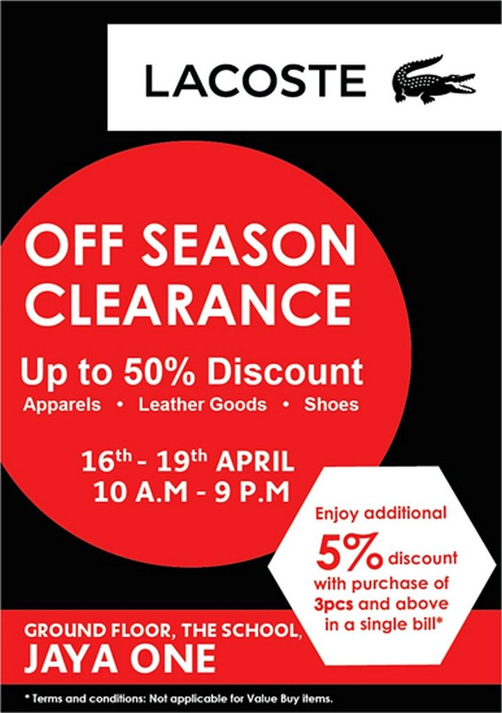 77b2c04ea0 16-19 Apr 2015: Lacoste Off Season Clearance Sale Event for Apparels ...